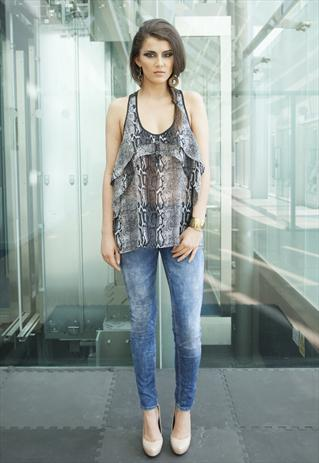 Sheer Grey Snake Print Chiffon Vest Top | Yan Neo London Boutique | ASOS Marketplace