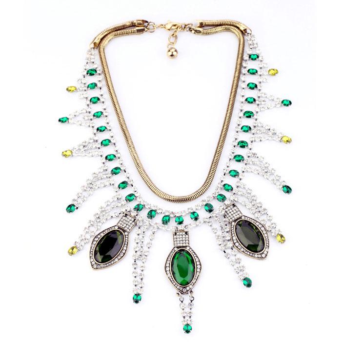 Personalized Bright Rhinestone Party Strand Chain Necklace - DualShine