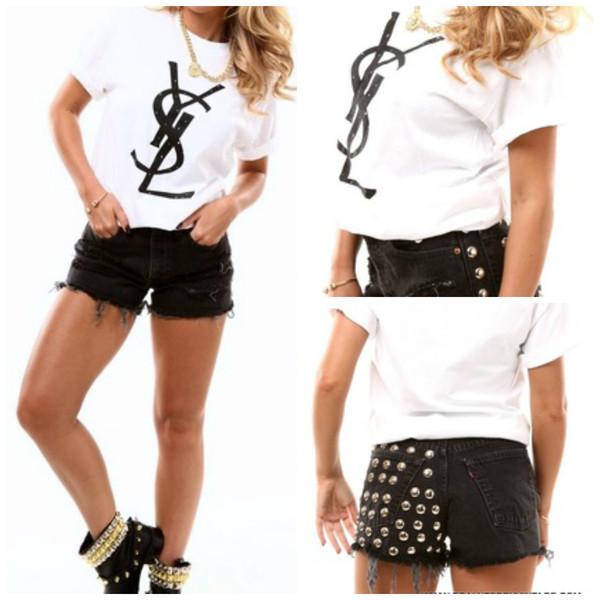 t-shirt ysl ysl tshirt t-shirt spring outfits vintage collage vintage shorts black shorts shoes