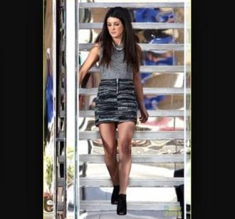 skirt shenae grimes grey skirt striped skirt top grey top