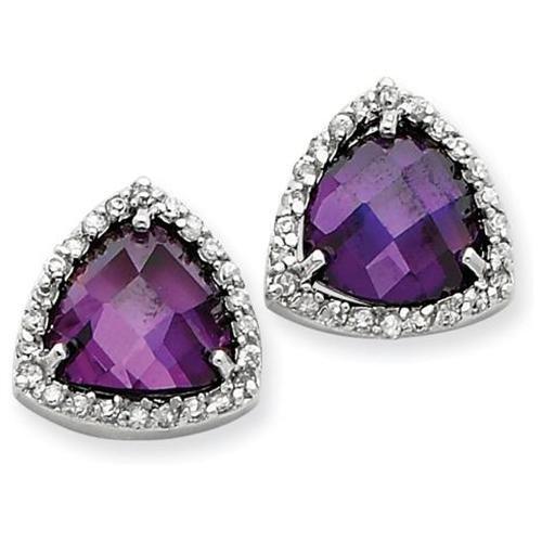Purple CZ Trillion Post Earrings in Sterling Silver - Rakuten.com Shopping