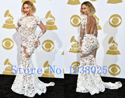 Online Shop Sexy 2014 Beyonce Mermaid Open Back Long Sleeve See-Through White Lace Grammy Awards Celebrity Dresses/Evening Dress|Aliexpress Mobile