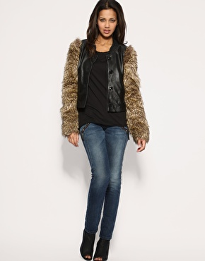 Miss Sixty   Miss Sixty Faux Fur Sleeved Leather Jacket at ASOS