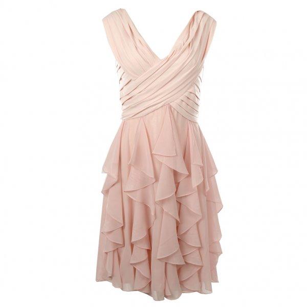 Psyche  | Bernshaw Pink Ruffle Layered Cross Over Front Dress | UK Supplier | Cheap-E-Deals