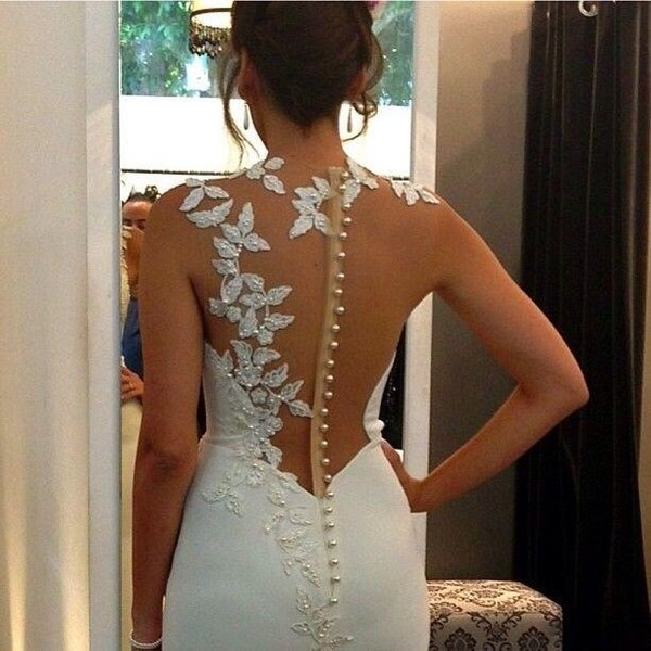 dress wedding dress illusion back floral white dress see through back elegant gorgeous