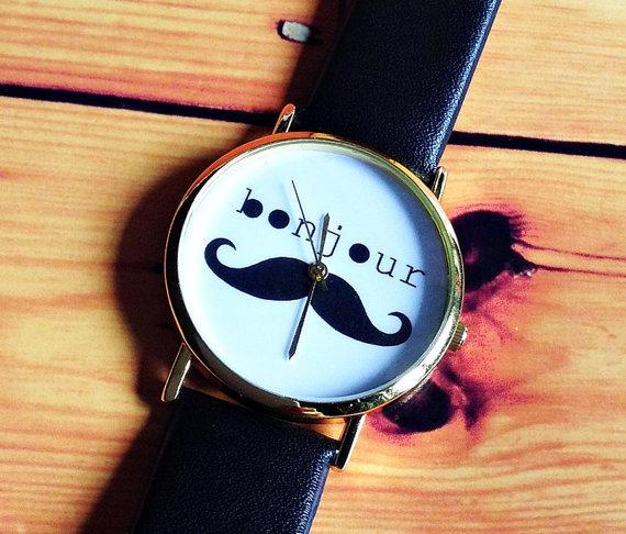 SALE Bonjour Moustache Watch Vintage Style Leather by FreeForme