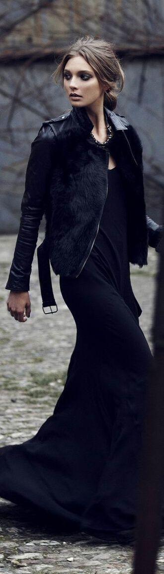 jacket fur vest fur trim buckles zip black leather jacket
