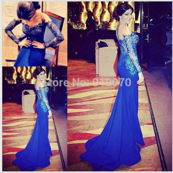 dress prom dress party dress evening dress lace dress navy blue prom dress long sleeve evening dress sexy prom dress