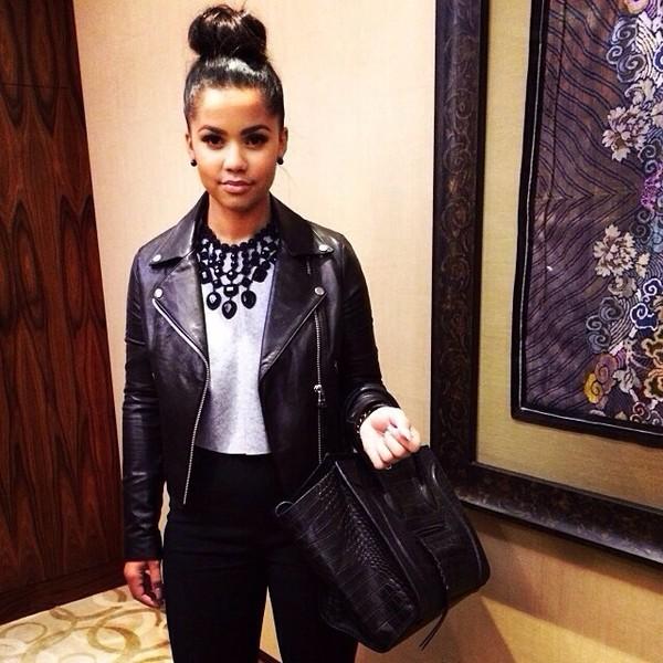 jacket leather jacket black necklace