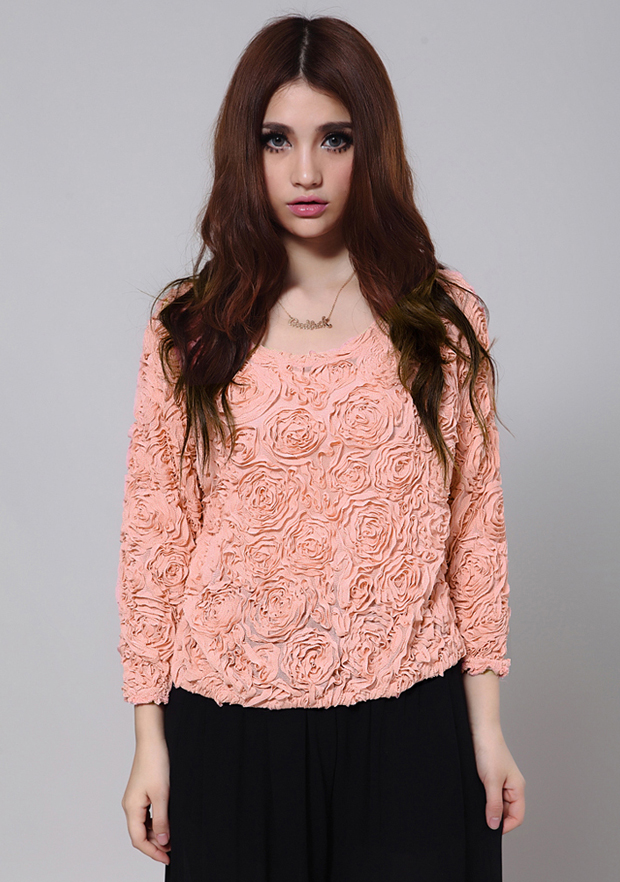 New Lace Rose Floral 3D Mesh Pullover Jumper Sweater Shirt Blouse Top 3 Color J | eBay