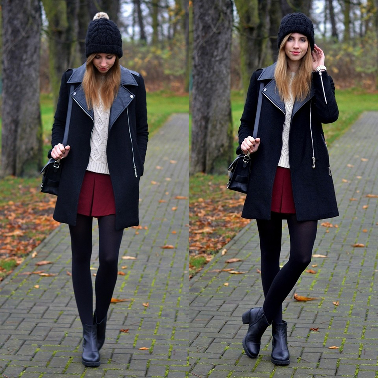 Faux Leather Collar Felt Wool Coat in Black - Retro, Indie and Unique Fashion