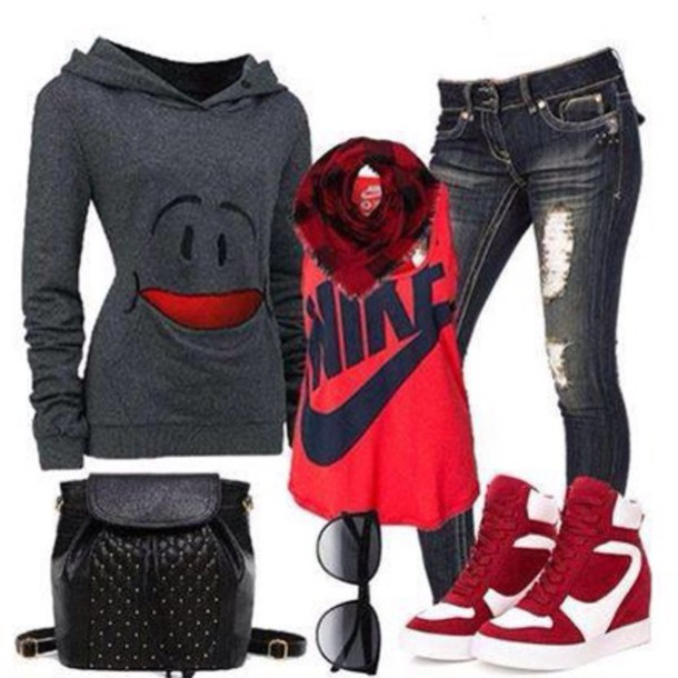 sweater jeans pants shirt smile shoes shades scarf bag