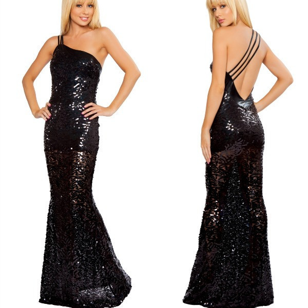 Asymmetric Sequin Mermaid Gown (BLACK) | modhaus