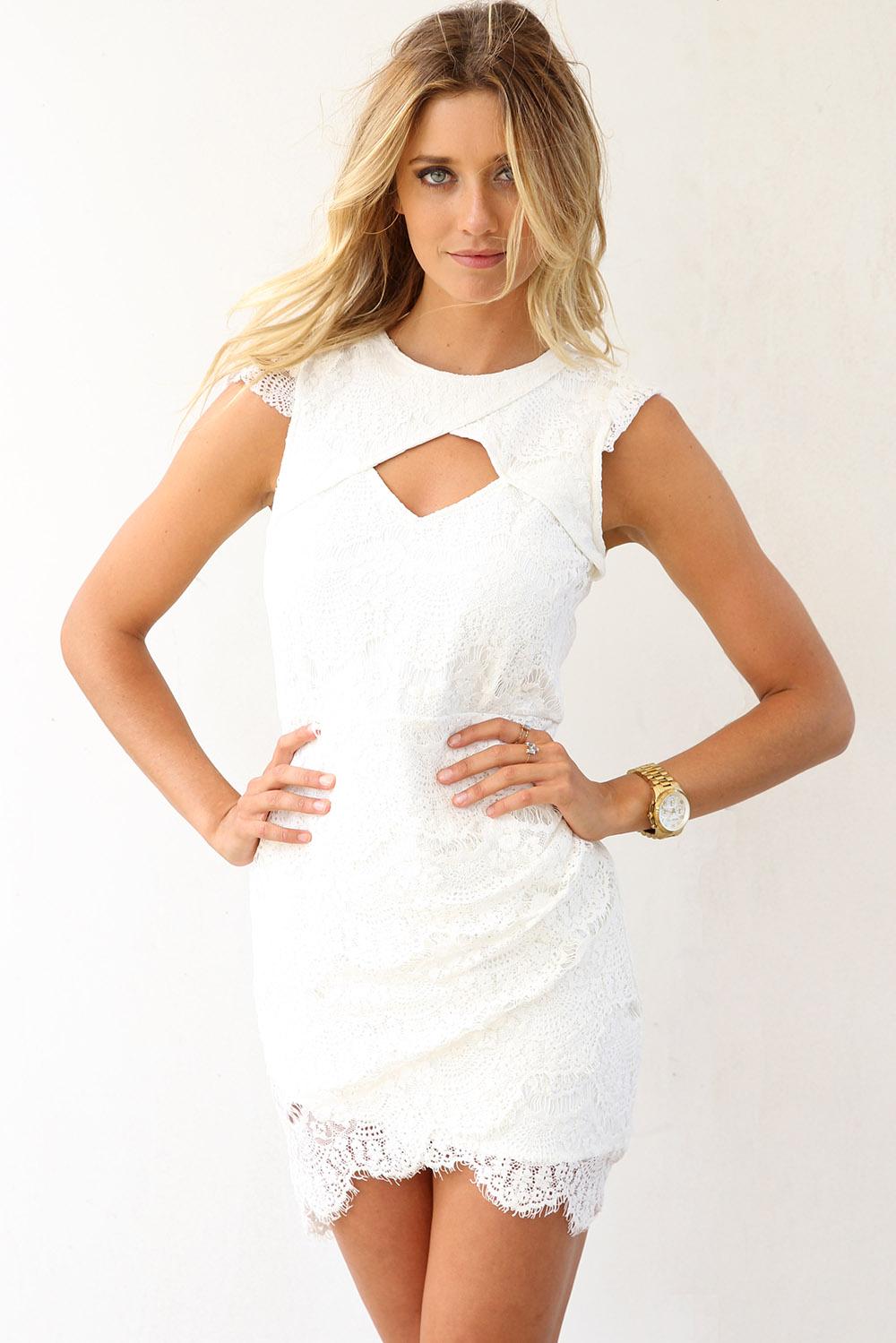 SABO SKIRT  Epiphany Lace Dress - White - White - 58.0000