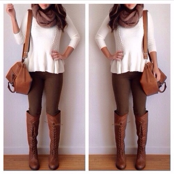 blouse shoes shirt white pants boots scarf bag sweater white peplum sweater knit crochet brown leather tight fall outfits high knee long shorts top peplum white top
