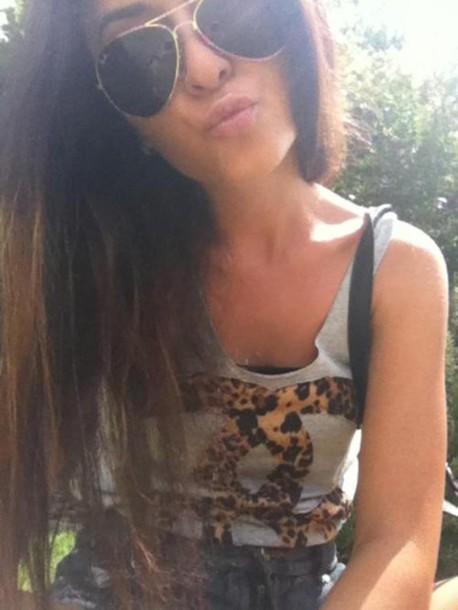 leopard print chanel sunglasses shirt