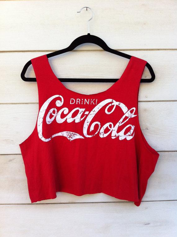 Vintage Coca Cola Cut Off Tank van ClosetCreep op Etsy