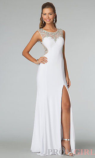High Neck Prom Dress, JVN by Jovani Sheer Back Gowns- PromGirl