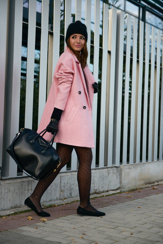 lovely pepa blogger bag pink coat tights ballet flats beanie polka dot tights black beanie pom pom beanie black bag givenchy givenchy bag flats