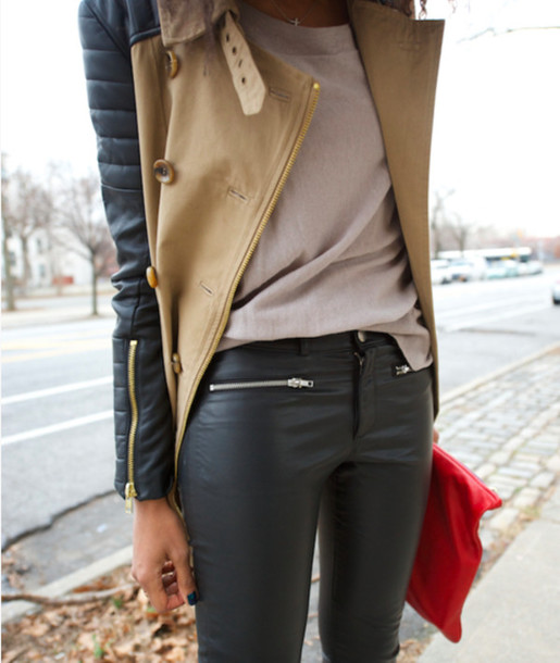 coat clothes jacket fall outfits winter outfits cute love shirt pants leather trench coat