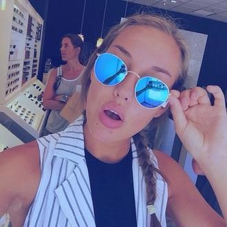 sunglasses blue mirrored sunglasses mirror silver accessory rayban blue & god round summer trendy