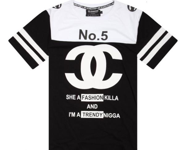 top cc fashion killa no . 5 black white stripes trendy t-shirt