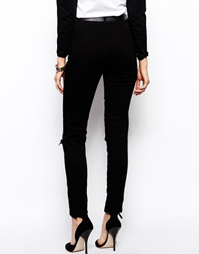 ASOS | ASOS Skinny Twill Trousers with Ripped Knee at ASOS