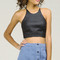 Thin racerback pleather crop top