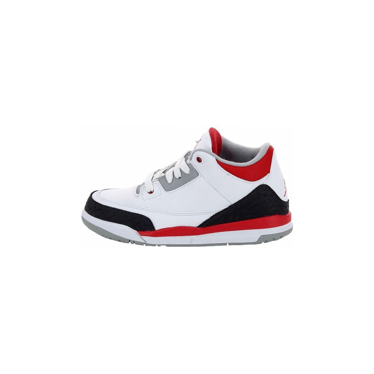 Baskets montantes Nike Air Jordan 3 Retro Cadet Blanc - Livraison Gratuite avec Spartoo.com ! - Chaussures Enfant 63,14 €