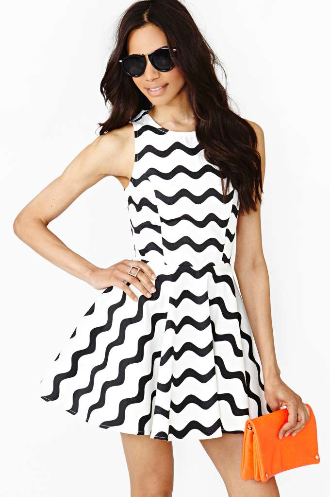 Graphic Wave Skater Dress  in  Clothes at Nasty Gal