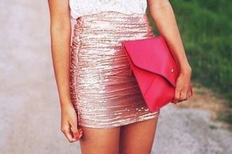 skirt pink sparkle purse clutch wrap sequins short tight bodycon bag bronze shiny short mini-skirt high waisted pink skirt