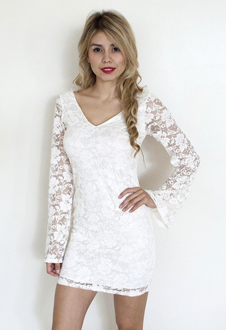 Off-white Party Dress - White Lace Long Sleeve Dress   UsTrendy
