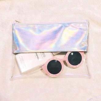 bag clutch clear clutch cool glasses sunglasses round sunglasses plastic pastel pink transparent  bag pink sunglasses holographic summer accessories metallic clutch
