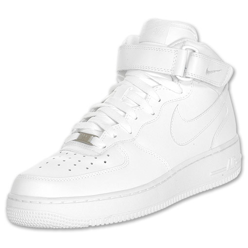 Men's Nike Air Force 1 Mid Casual Shoes| FinishLine.com | White/White