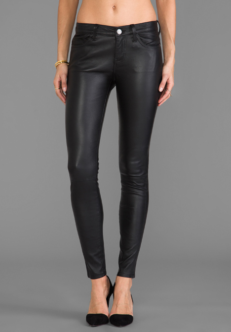 CURRENT/ELLIOTT The Ankle Leather Skinny in Black at Revolve Clothing - Free Shipping!