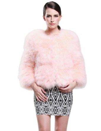 Amazon.com: Camii Mia Women's Ostrich Hair Fur Coat (One Size, Pink): Clothing