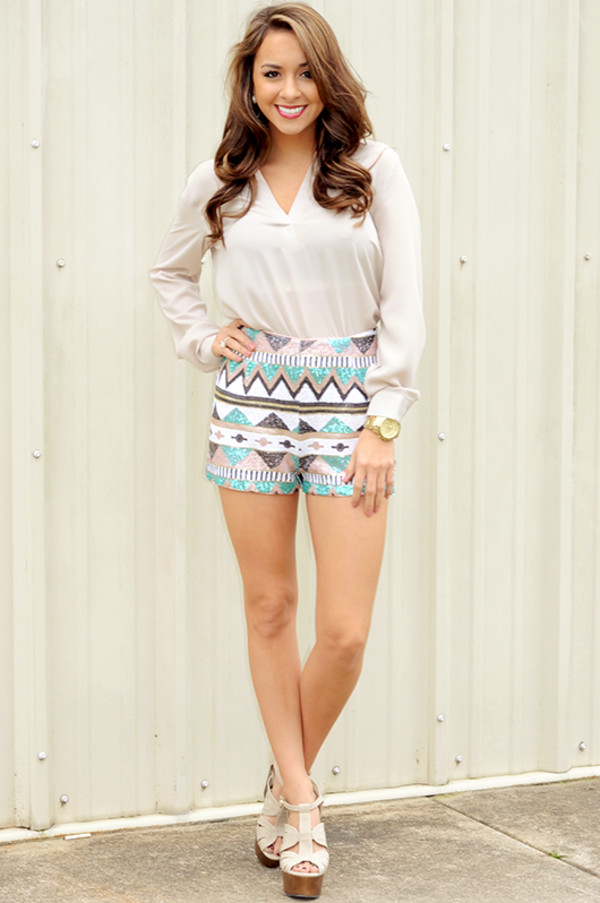 shorts aztec sequins