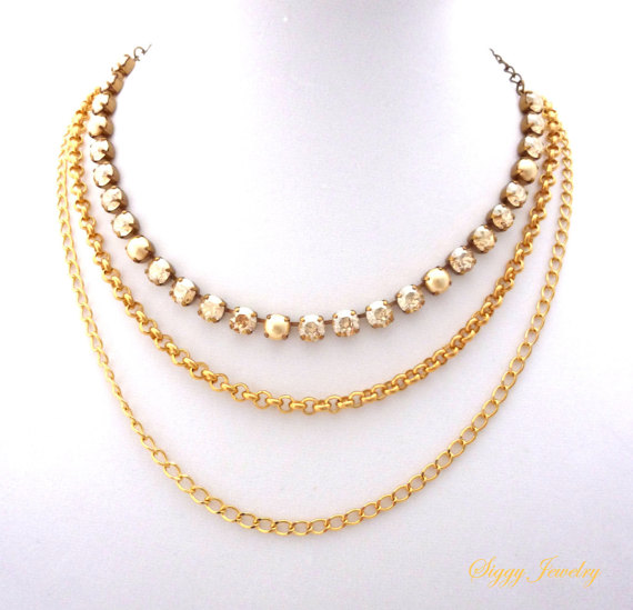Lovely Chunky yellow gold plated chain necklace, double chain, multi  CR35
