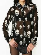 Skull Print Chiffon Shirt | Choies