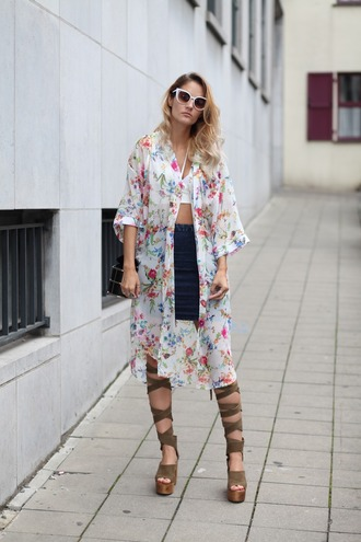 from brussels with love blogger top skirt shoes jewels crop tops floral jacket denim skirt lace up lace up heels stacked wood heels