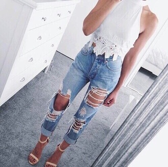 jeans shirt top style fashion boho grunge white fashion toast fashion vibe white top white t-shirt white crop tops denim ripped jeans ripped nude shoes streetwear
