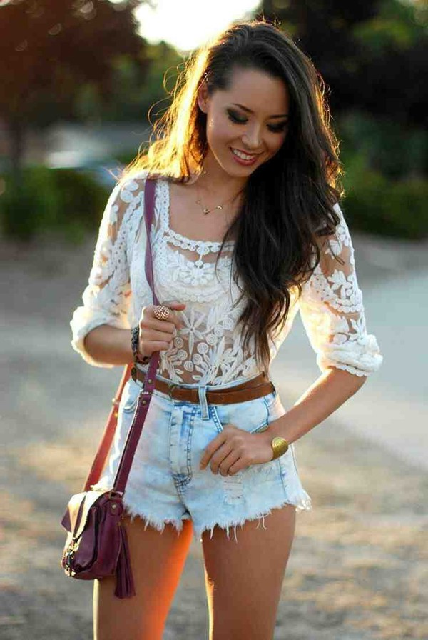 shirt lace white belt top lace top white lace top blouse shorts bralette cute hippie tumblr hipster preppy english london fashion