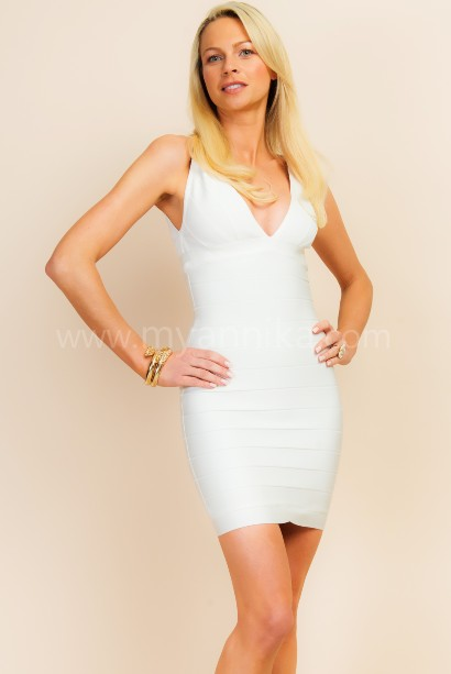 St. Tropez - White V-Neck Strappy Bandage Dress Annika - Bandage Dresses | Celebrity Party Dresses | Herve Leger Dresses Bandage dress detail