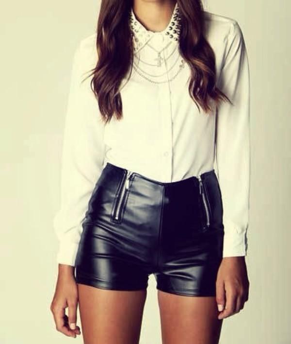 shorts shorts high waisted leather black zip blouse