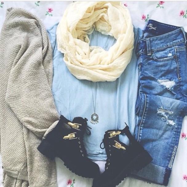 cardigan scarf t-shirt jeans shoes pants
