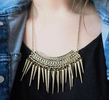 RETRO BRONZE GOLD LAYERS BEADS & SPIKE STATEMENT QUIRKY TRIBAL KITSCH NECKLACE | eBay