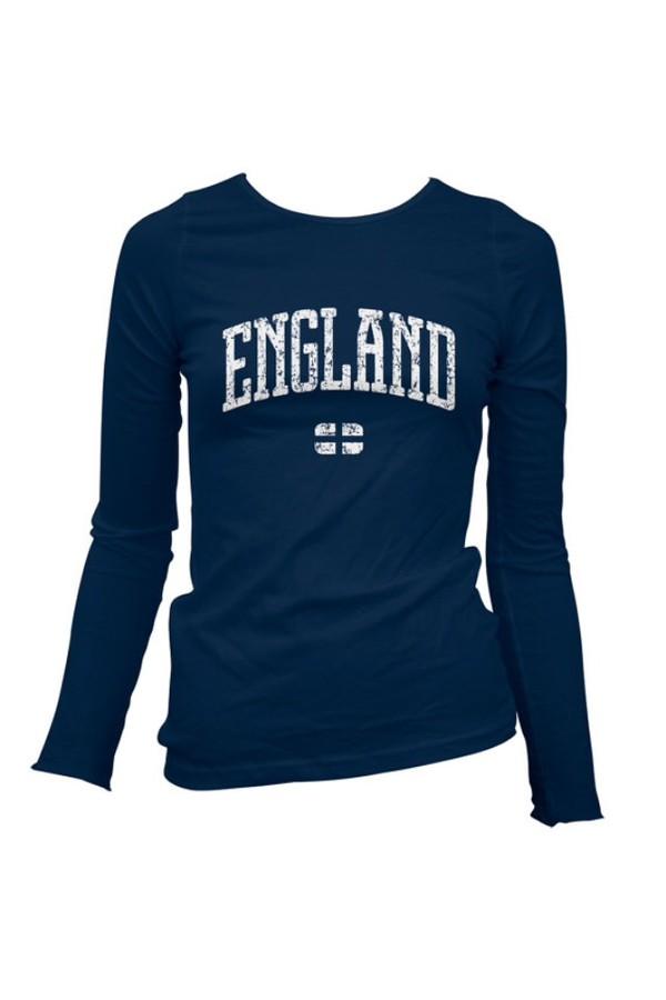 t-shirt dark blue england long sleeves