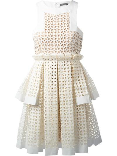Alexander Mcqueen Laser Cut Box Pleat Dress - Stefania Mode - Farfetch.com