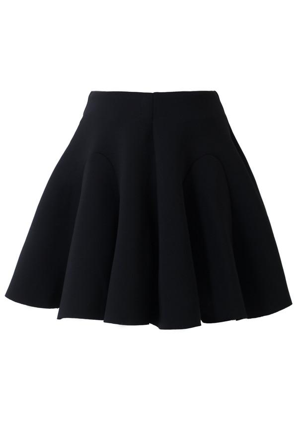 skirt airy quilt pleated skater skirt black