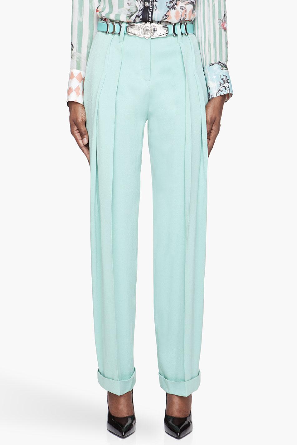 balmain mint green pleated silk trousers
